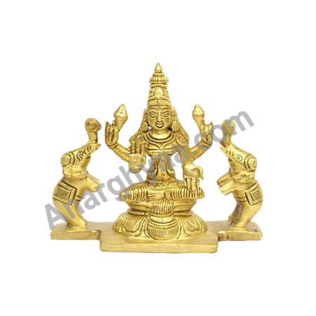 Gajalakshmi brass idol, brass idol of Gajalakshmi, Brass puja items, online spiritual store, anarghyaa.com
