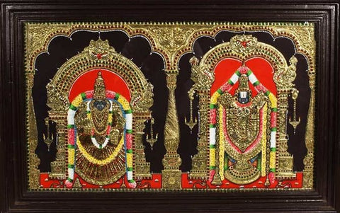 Lord Balaji and Padmavathi Tanjore Painting, Anarghyaa.com, Tanjore Paintings, Thanjavur Paintings, Tanjore Art, Online Tanjore Paintings, Thanjavur Art online, Tanjore paintings online, Tanjore paintings, thanjavur paintings, tanjore art