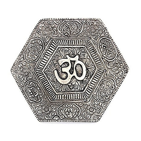 White Metal Om Plate Incense Stand, anarghyaa.com, return gift
