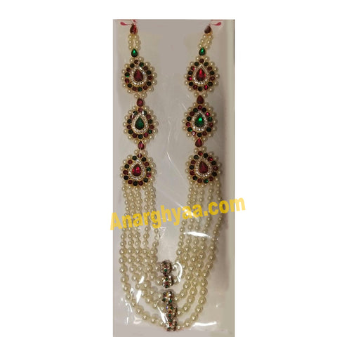 Deity Decorative Pearl Necklace, Temple Jewellery, Anarghyaa.com, deity ornaments
