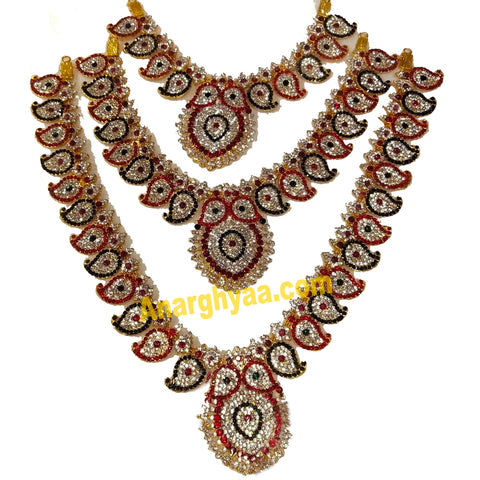 Deity Decorative Stonework Step Necklace, Temple Jewellery, Anarghyaa.com, Deity Accessories