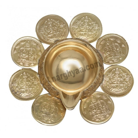 Brass Kuber Lamp with Lakshmi Coins, brass lamps, Kubera diya, anarghyaa.com