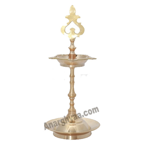 Karaikudi Brass Vilakku with Pirai design, anarghyaa.com, brass lamps and diyas