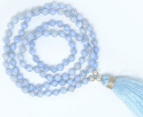 Blue Lace Agate Mala | Crystal Puja Items | Buy Japamalas at Anarghaya.com