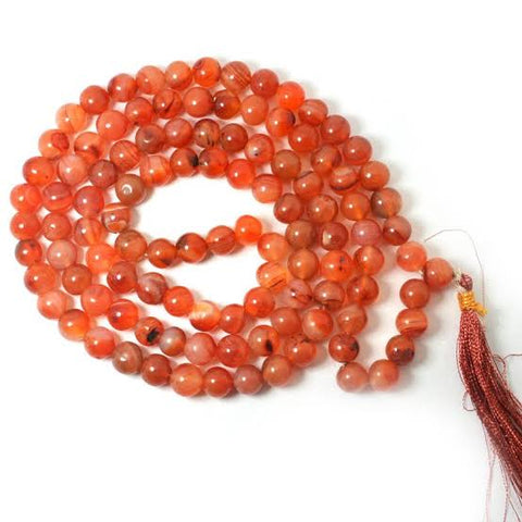 Orange Carnelian Mala | Crystal Puja Items | Buy Japamalas at Anarghaya.com