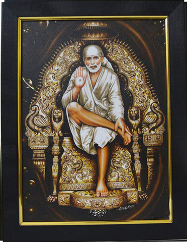 Shirdi Saibaba Photo with Frame | Shirdi Saibaba  Photo| God Photo for puja| Anarghyaa.com