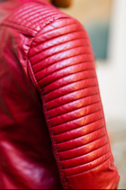 Wine Faux leather Jacket