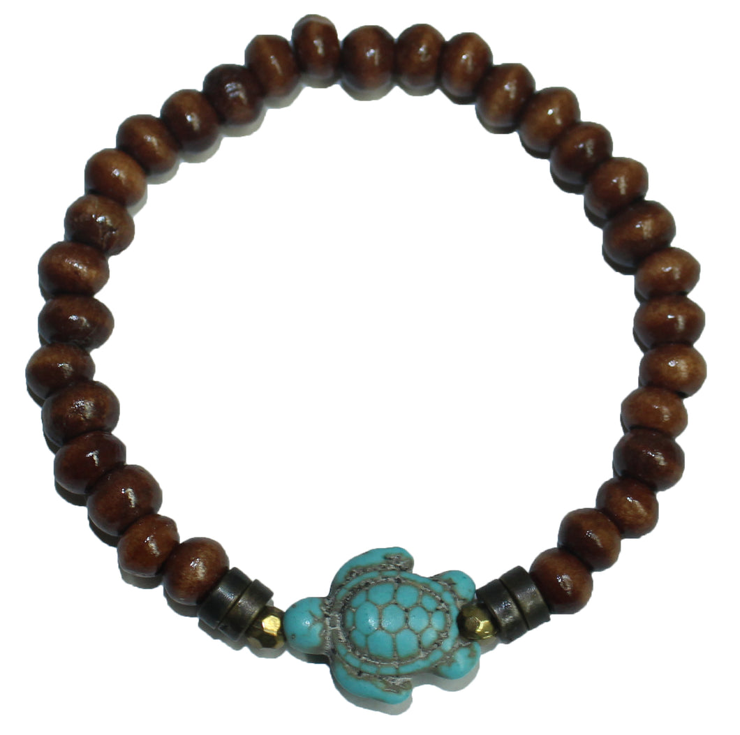Sea Turtle Wood Bead Bracelet