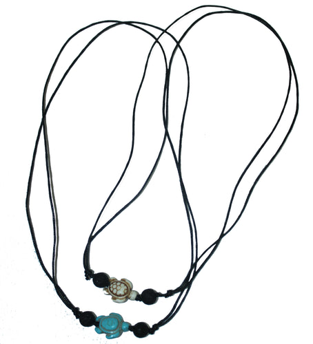 Howlite Turtle Lava Necklace