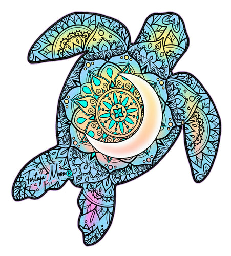 Colorful Moon Turtle Decal