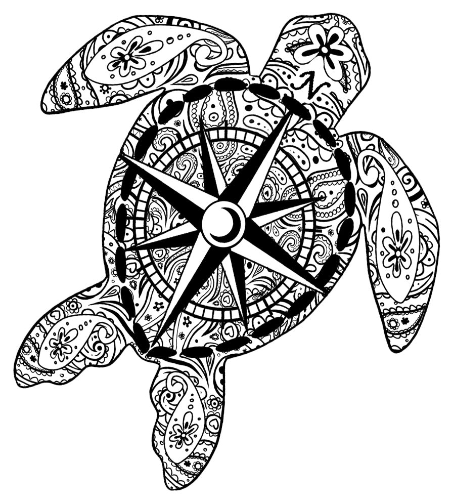 Grayscale Compass Turtle Decal