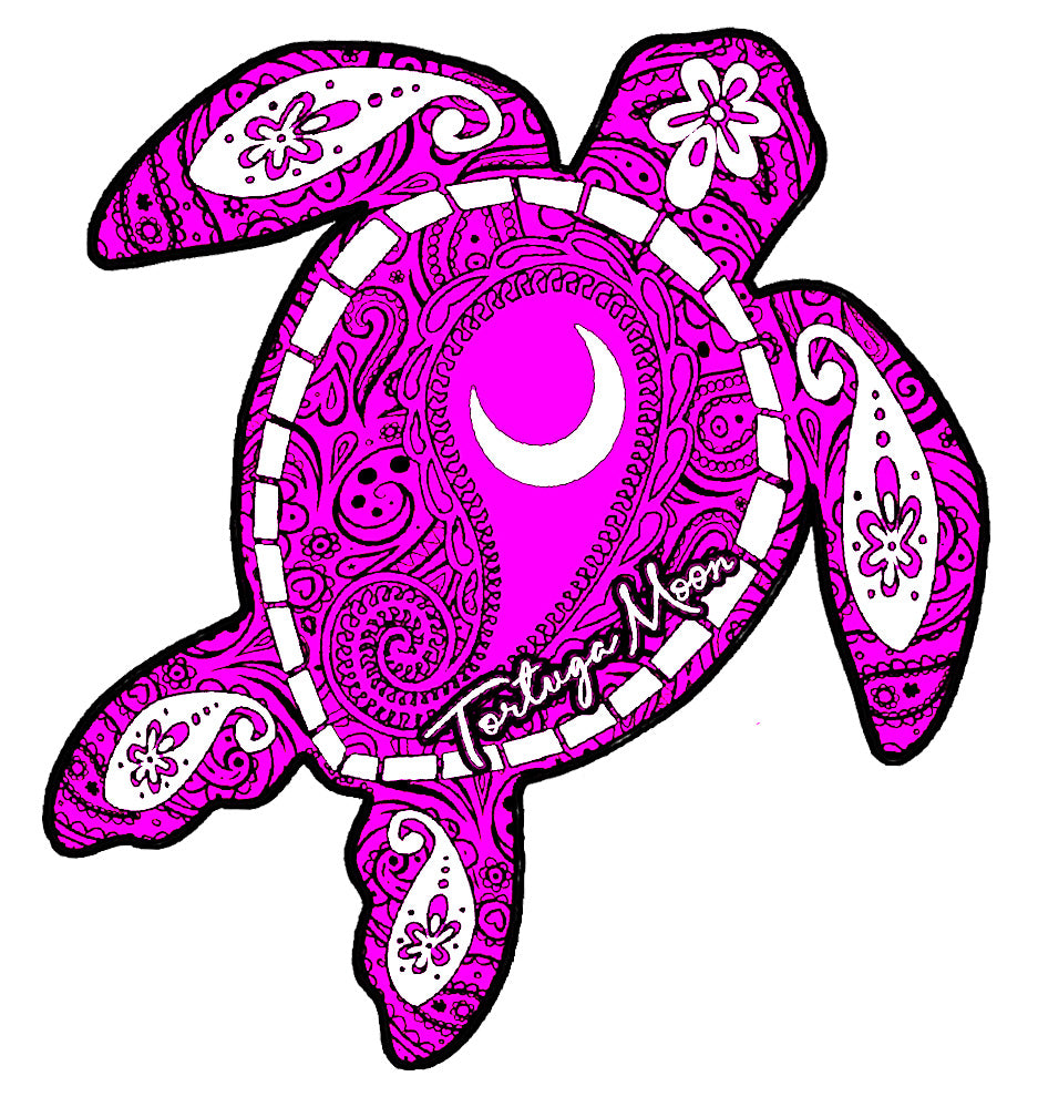 Purple Moon Turtle Decal