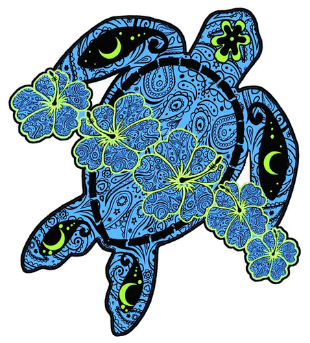 Blue Flower Turtle Decal