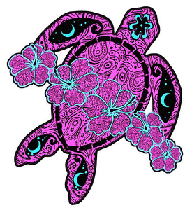 Purple Flower Turtle Decal