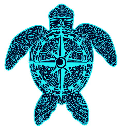 Blue Compass Turtle Decal