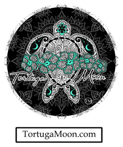 Aqua Flower Turtle Decal