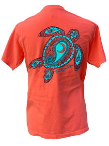 Aqua Turtle - Neon Red/Orange