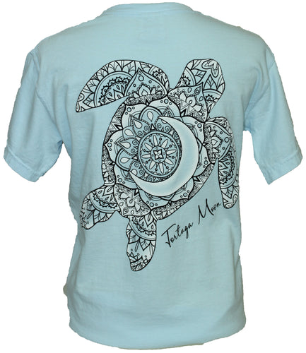 White Fade Turtle - Chambray Blue
