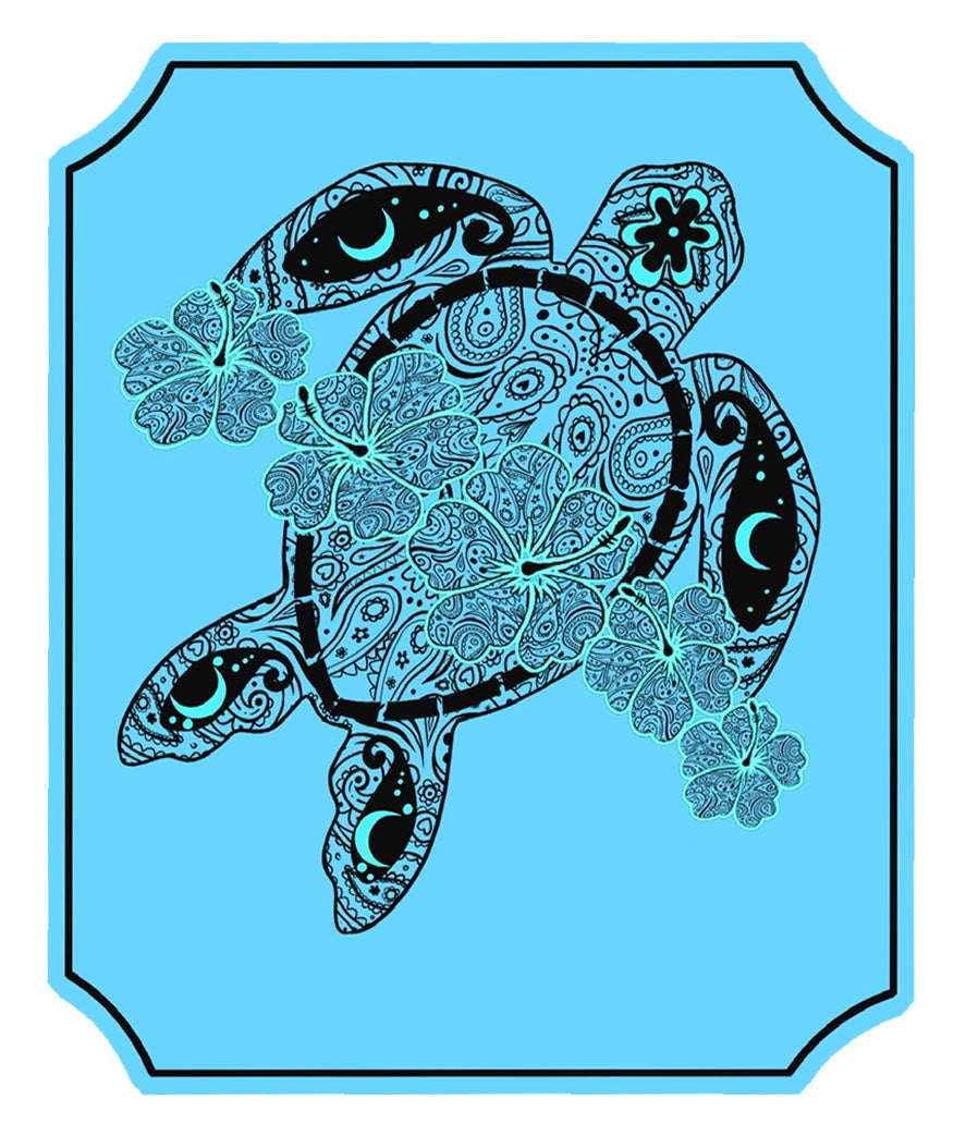 Blue Turtle Flower Decal