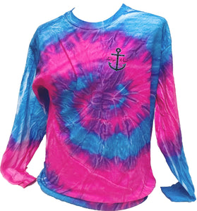 Mermaid Anchor Tie Dye - Blue/Pink