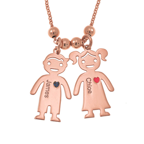Mother's Day Gift Necklace with Engraved Children Charms
