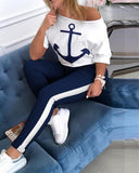 Anchor Print Short Sleeve Top & High Waist Pants Set