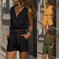 Casual Zipper Sleevelss Pocket Rompers