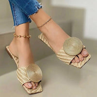 Solid Round Buckle Decoration Flat Sandals