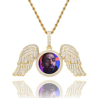 Custom Photo Medal Necklace with Wings
