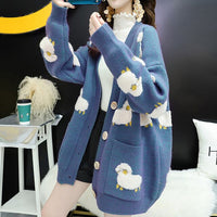 Premium Loose Cardigan Sheep Print