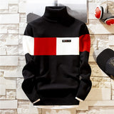 Casual Slim Contrast Color High Collar Sweater