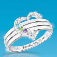 Personalized Heart Birthstone Ring Family Ring Gift for Her