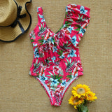 2020 New Sexy Ruffle Print Floral One Piece
