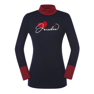 JDX Women's Heart Turtleneck Top