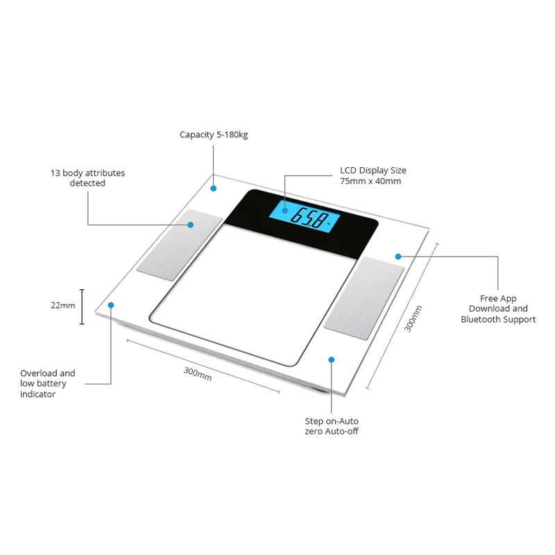 High Precision Digital Bathroom Scales c/w Bluetooth Support with Free App (CF573BT)