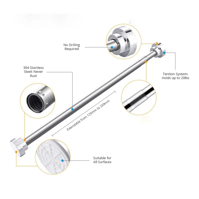 Extendable Shower Curtain Pole 125cm-220cm