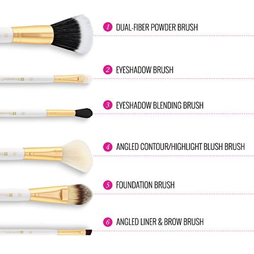 Набор кистей 6 шт Piece Brush Set with Cosmetic Bag