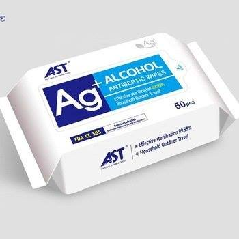 AST Ag+ Alcohol Antibacterial Wipes (50 ct)
