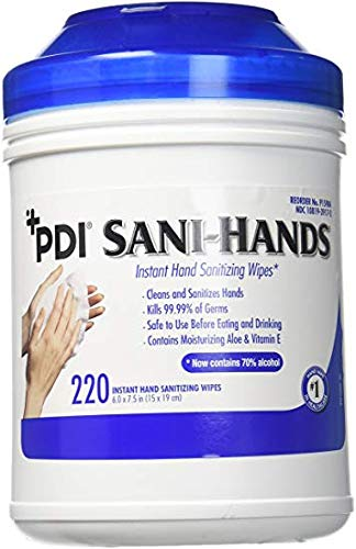 PDI Sanihands ALC Antimicrobial Alcohol Gel Hand Wipes (220 Wipes)