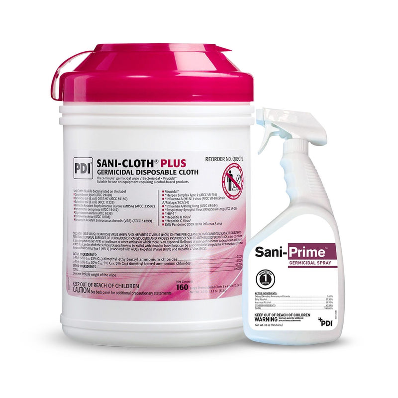 PDI Sani-Cloth Plus Germicidal Wipes (Pack of 160) + Sani-Prime Germicidal Spray
