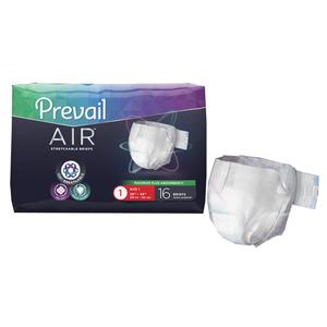 "First Quality Prevail Air Stretchable Incontinence Brief, Heavy Absorbency, 26"" to 48"", White (Package of 16)"