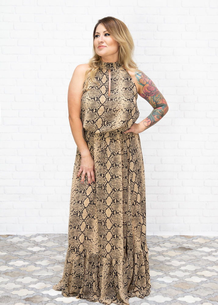 Load image into Gallery viewer, Tristin Python Print Maxi Dress