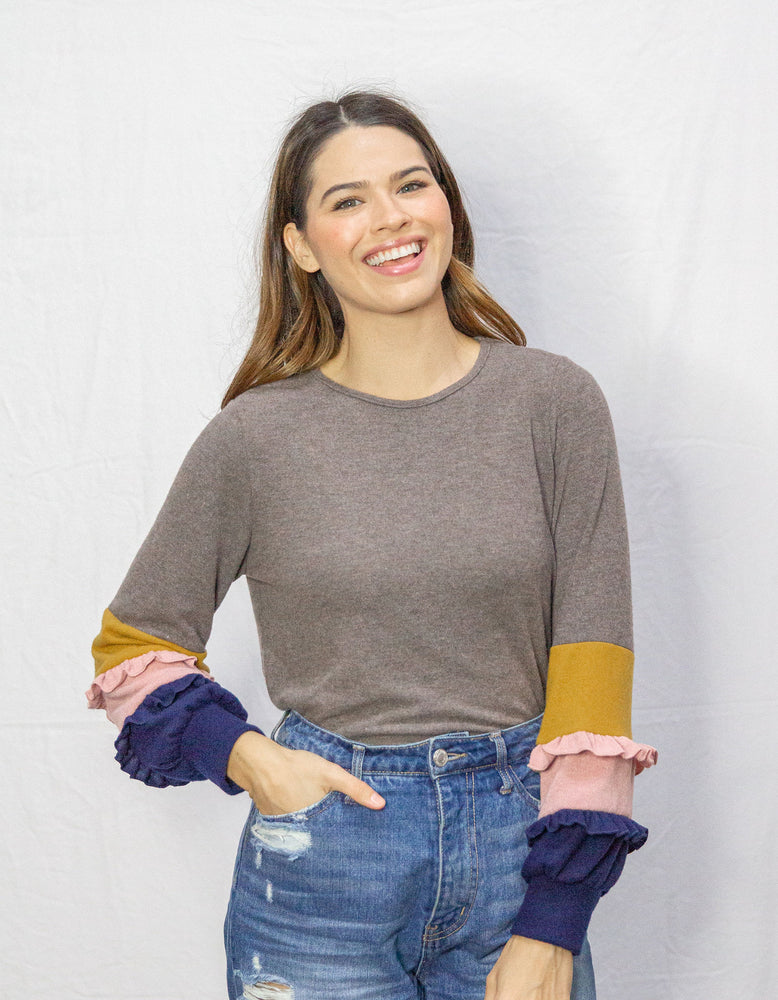 Ashlee Sweater with Ruffled Sleeves