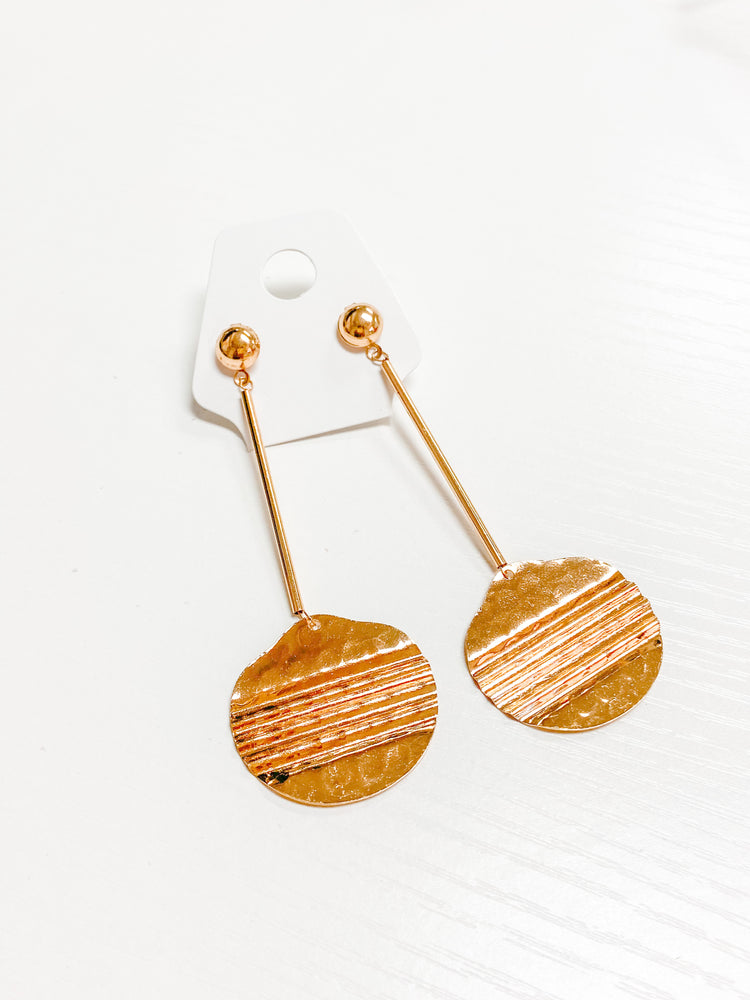 Goldie Textured Disc Dangle Drop Earrings