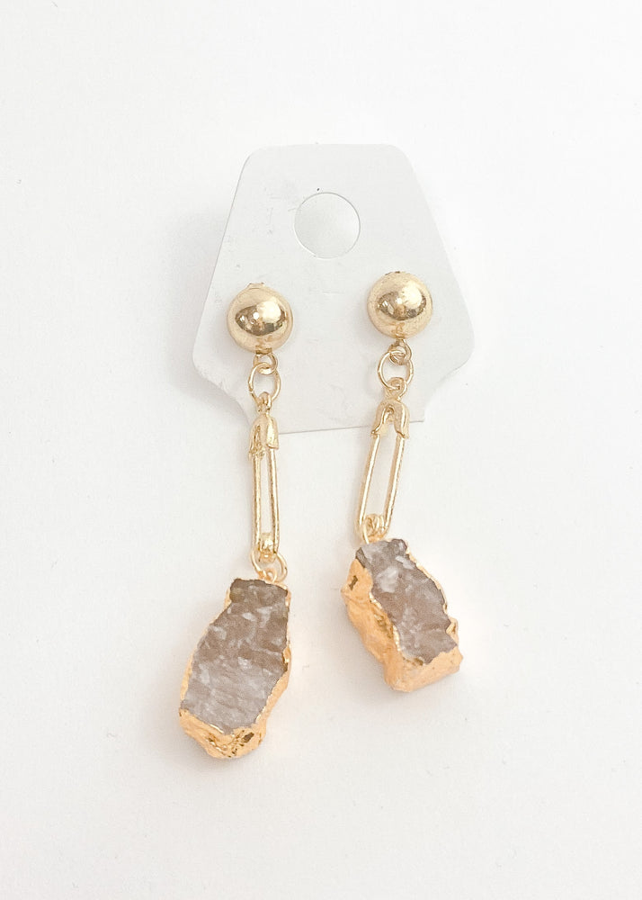 Load image into Gallery viewer, Amethyst Pin Drop Gold Earrings