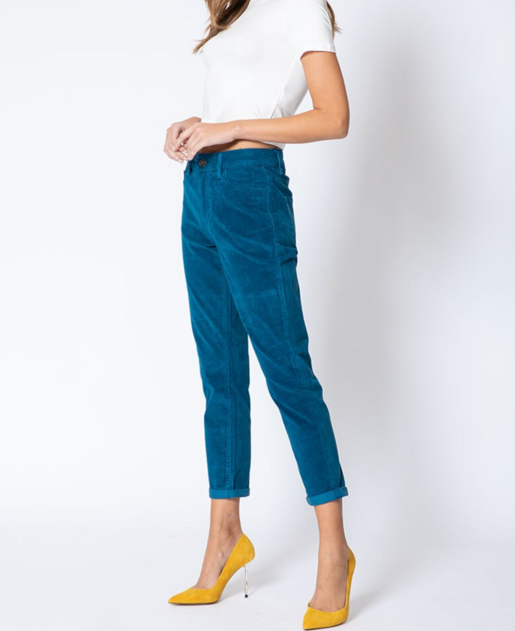 Emily Aqua Blue High Rise Corduroy Pants