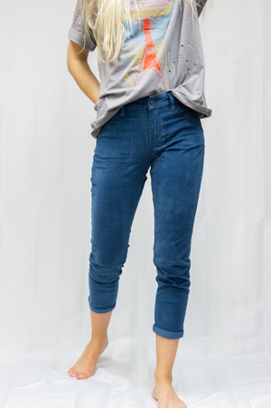 Load image into Gallery viewer, Emily Aqua Blue High Rise Corduroy Pants