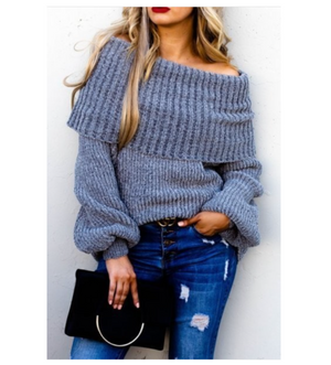 Kamryn Off the Shoulder Grey Sweater