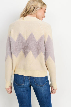 Load image into Gallery viewer, Charlotte Sweater Lavender Chevron Stripe