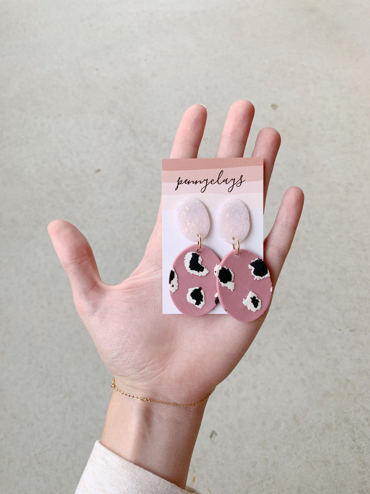 Brie Mauve Opal Leopard Earrings by PennyClays